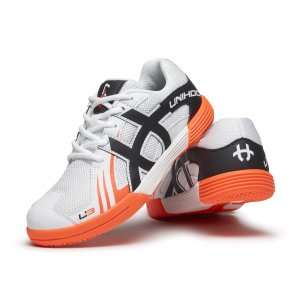 Florbalová obuv UNIHOC U3 Junior white / orange